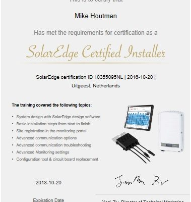 solaredge certificaat